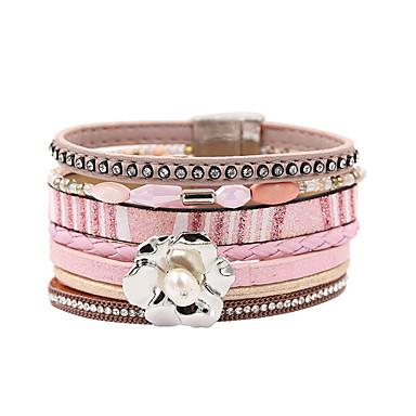 abordables Bracelet-Bracelets en cuir Femme Multirang Pétale Elégant Bohème Bracelet Bijoux Rose pour Cadeau Quotidien Entraînement Soirée Anniversaire