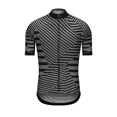 رجالي كم قصير جورسيه الدراجة أسود مخطط الدراجة جورسيه قمم رياضات تيريليني ملابس / عالية المرونة