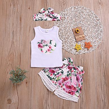 cheap Baby & Kids-Baby Girls' Active / Basic Print Lace / Print Sleeveless Regular Regular Cotton Clothing Set Red