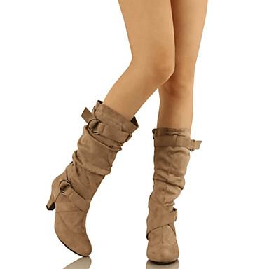 voordelige Dameslaarzen-Dames Synthetisch Lente & Herfst Brits / minimalisme Laarzen Lage hak Gepuntte Teen Kuitlaarzen Gesp Zwart / Lichtgeel / Bruin