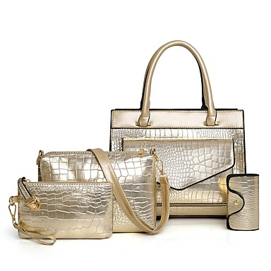 Kadın's Çantalar Rugan Deri / PU Çanta Setleri 4 Adet Çanta Seti Fermuar için Randevu / Dış mekan İlkbahar yaz / Sonbahar Kış Altın / Siyah / YAKUT