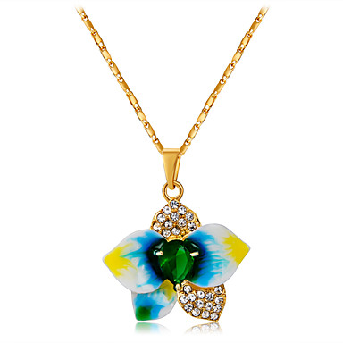 cheap Necklaces-Women's Green Crystal Pendant Necklace Rustic Romantic Sweet Zircon Copper Gold Plated Gold 47 cm Necklace Jewelry 1pc For Daily Evening Party Formal
