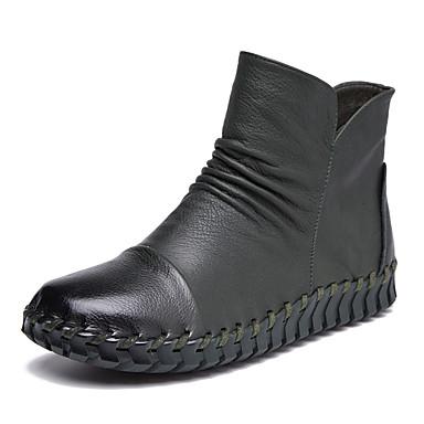 povoljno Ženske čizme-Žene Mekana koža Jesen Čizme Niska potpetica Čizme gležnjače / do gležnja Deva / Lila-roza / Žutomrk
