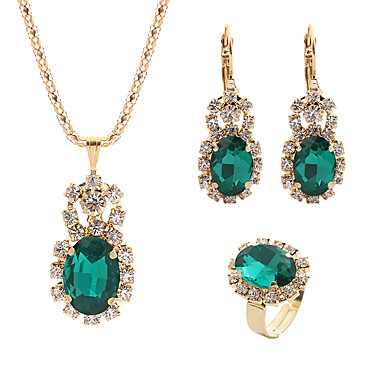 7eb6f3b57 Women's Crystal Retro Jewelry Set Rhinestone Classic, Sweet, Elegant  Include Drop Earrings Pendant Necklace Bridal Jewelry Sets Open Ring Red /  Green / Blue ...