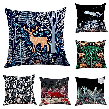6 Pcs Linen Pillow Cover Special Design Animal Fl Print New Arrival European Style