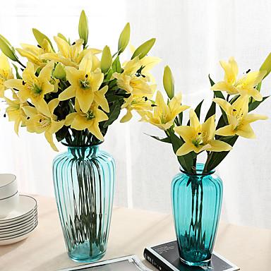 Keinotekoinen Flowers 1 haara Klassinen Juhla Häät Liljat Eternal Flowers Pöytäkukka