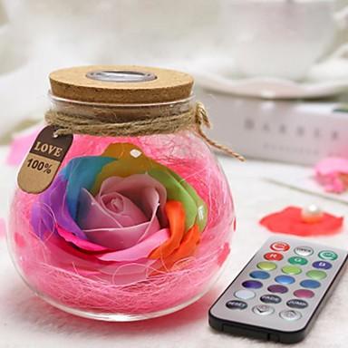uutuus värikäs ruusu saippua kukka haluaa lasipullo johti valo yö lamppu ystävänpäivä syntymäpäivä lahja