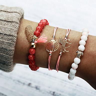 abordables Bracelet-Chaînes Bracelets Bracelet à Perles Bracelet Pendentif Femme Multirang Ananas Coquillage simple Européen Doux Mode Bracelet Bijoux Rose pour Vacances Sortie Anniversaire