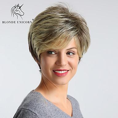 Συνθετικές Περούκες Ίσιο Στυλ Κούρεμα νεράιδας Χωρίς κάλυμμα Περούκα Χρυσό Ανοικτό Χρυσαφί Συνθετικά μαλλιά 12 inch Γυναικεία συνθετικός / Η καλύτερη ποιότητα / Μαλλιά μπαλαγιάζ Χρυσό Περούκα Κοντό