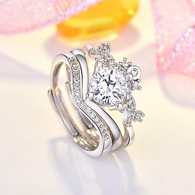 billige Motering-Dame Multi-fingerring Kubisk Zirkonium 3pcs Sølv Kobber Fuskediamant Stilfull Daglig Smykker Hjerte