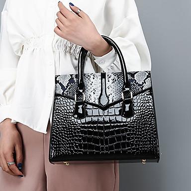 povoljno Zmijska koža-Žene Gumbi Torba s ručkom Patent Leather / PU Krokodil Red / Crvena / Braon / Zmijska koža / Jesen zima