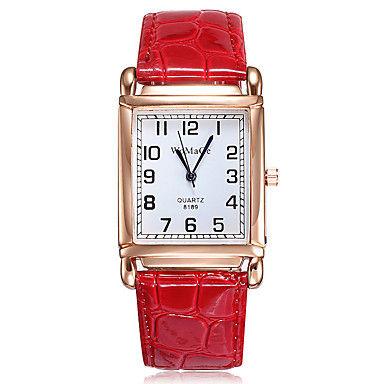 halpa Naisten kellot-Naisten Quartz Muoti Tyylikäs Musta Valkoinen Punainen PU Leather Quartz Valkoinen Musta Rubiini Arkikello 1 kpl Analoginen Yksi vuosi Akun käyttöikä / Ruostumaton teräs