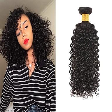 voordelige Weaves van echt haar-6 bundels Braziliaans haar Kinky Curly Mensen Remy Haar Menselijk haar weeft Bundle Hair Een Pack Solution 8-28inch Natuurlijke Kleur Menselijk haar weeft Waterherfst Schattig Modieus Design