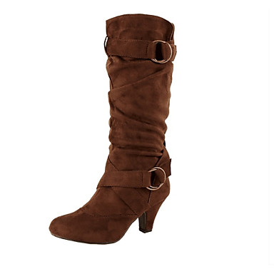 voordelige Dameslaarzen-Dames PU Winter Vintage Laarzen Blokhak Ronde Teen Knielaarzen Zwart / Beige / Donker Bruin