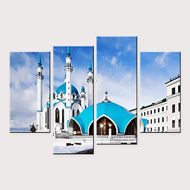 billige Trykk-Trykk Valset lerretskunst - Idyllisk Arkitektur Moderne Fire Paneler Kunsttrykk