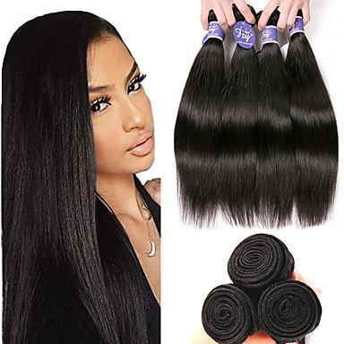 baratos Extensões de Cabelo Natural-4 pacotes Cabelo Malaio Liso Não processado Cabelo Natural 100% Remy Hair Weave Bundles Peça para Cabeça Cabelo Humano Ondulado Cabelo Bundle 8-28 polegada Natural Tramas de cabelo humano Segurança