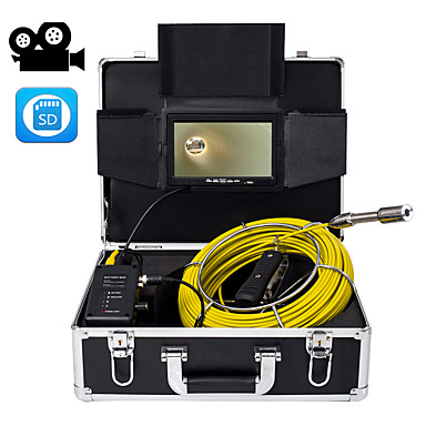 voordelige Microscopen & Endoscopen-23 mm industriële lens endoscoop 40 m werklengte auto reparatie inspectie pijpleiding reparatie 7-inch display met videocamera