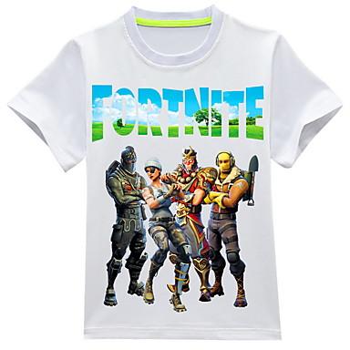 billige Overdele til drenge-Børn Drenge Basale Trykt mønster Kortærmet T-shirt Blå
