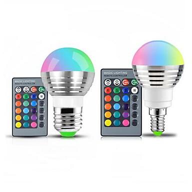 abordables Ampoules électriques-1pc 3 W Ampoules Globe LED 250 lm E14 E26 / E27 1 Perles LED SMD Intensité Réglable Commandée à Distance Décorative RVB 85-265 V