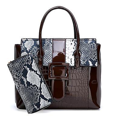 preiswerte Taschen-Damen Knöpfe Bag Set Beutel Sets Lackleder Krokodilmuster 2 Stück Geldbörse Set Rote / Purpur / Braun / Schlangenhaut / Herbst Winter