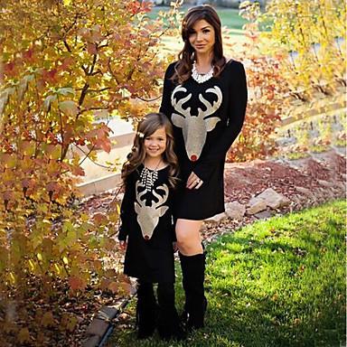 billige Familie-tøjsæt-Mommy og mig Aktiv Basale Geometrisk Dyr Trykt mønster Langærmet Normal Knælang Normal Bomuld Kjole Sort