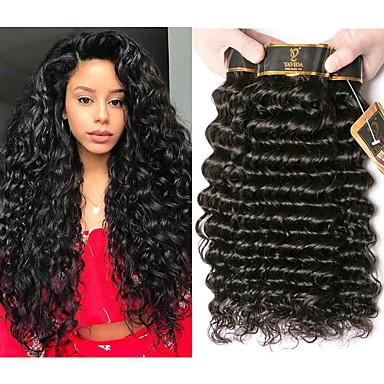 voordelige Weaves van echt haar-4 bundels Braziliaans haar Diepe Golf 100% Remy haarweefselbundels Menselijk haar weeft Verlenging Bundle Hair 8-28 inch(es) Natuurlijke Kleur Menselijk haar weeft Geurvrij Creatief Zijdeachtig