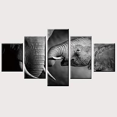 abordables Toiles-Imprimé Impressions sur toile roulées Impression sur Toile - Animaux Moderne Rétro Vintage Moderne Cinq Panneaux Art Prints