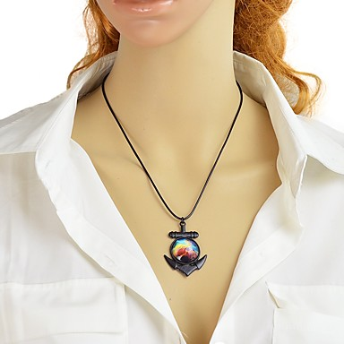 abordables Collier-Collier Pendentif Femme Géométrique Ancre Mode Adorable Jaune 45 cm Colliers Tendance Bijoux 1pc pour Quotidien