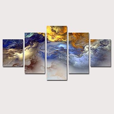 abordables Toiles-Imprimé Impression sur Toile - Abstrait Paysage Classique Rétro Vintage Cinq Panneaux Art Prints