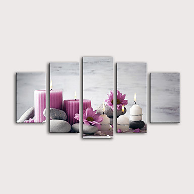 Boyama Haddelenmiş Kanvas Tablolar Gerdirilmiş Tuval Resimleri - Natürmort Çiçek / Botanik Modern Beş Panelli Sanatsal Baskılar