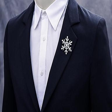 abordables Epingles & Broches-Homme Femme Cristal Broche Créatif Flocon de Neige simple Mode Broche Bijoux Argent Pour Noël Mariage Soirée Fiançailles Cadeau