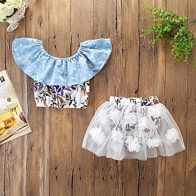 abordables Conjuntos de Ropa para Bebés-Bebé Chica Activo / Básico Floral Estampado Sin Mangas Corto Algodón / Acrílico / Licra Conjunto de Ropa Blanco