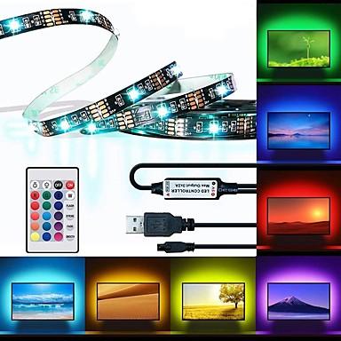 abordables Bandes Lumineuses LED-brelong led tv backlight 2 mètre 60led époxy étanche multi-couleur usb tv rétro-éclairage avec contrôleur infrarouge 24 touches à distance halloween tv ordinateur éclairage de fond 5v