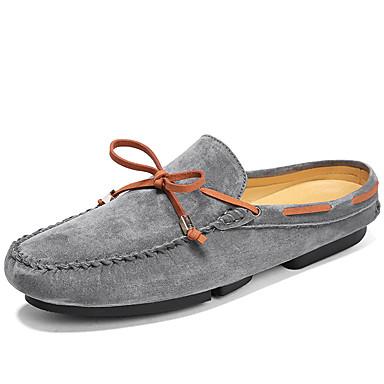 billige Hælfrie sko til herrer-Herre Mokasin Semsket lær Sommer / Høst Fritid / Britisk Tresko & Tøfler Pustende Fargeblokk Svart / Grå / Kakifarget