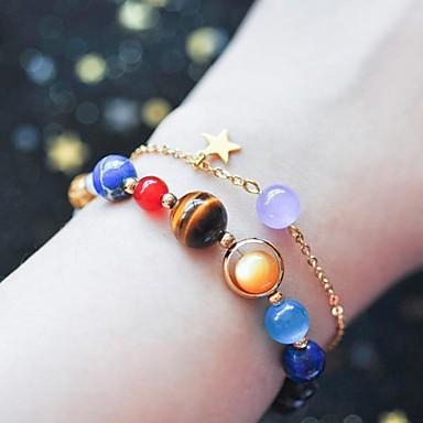 billige Motearmbånd-Dame Perlearmbånd Perler Stjerne Unikt design energi Gullbelagt Armbånd Smykker Regnbue Til Daglig Gate Ferie
