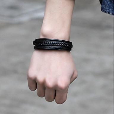 voordelige Herensieraden-Heren Lederen armbanden Armband Modieus Roestvast staal Armband sieraden Zwart / Koffie Voor Straat Uitgaan
