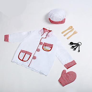 Kokki Lasten Poikien Tyttöjen Cosplay-Asut Asut Asu Käyttötarkoitus Denim kangas Masquerade Toppi Hat