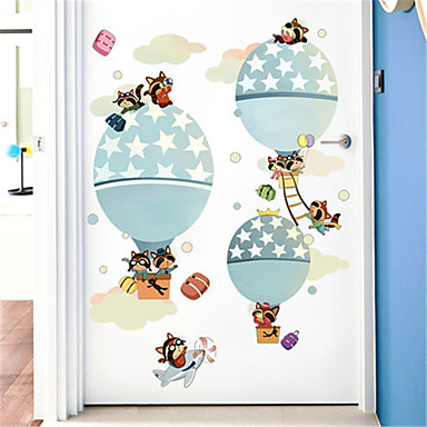 tegneserie børneværelse varmluftsballon selvklæbende tapet soveværelse sengelægning baggrund dekorative væg klistermærker børnehave gratis klistermærker
