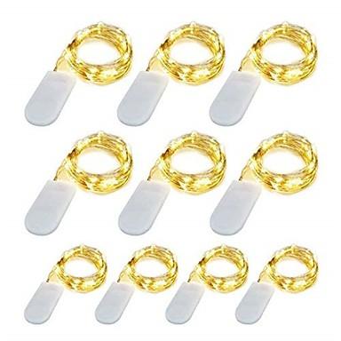 billige LED-stringlys-10 pacote 1 m led luzes da corda 10 led micro luzes em fio de cobre de prata para diy peça central da festa de casamento decoração de mesa