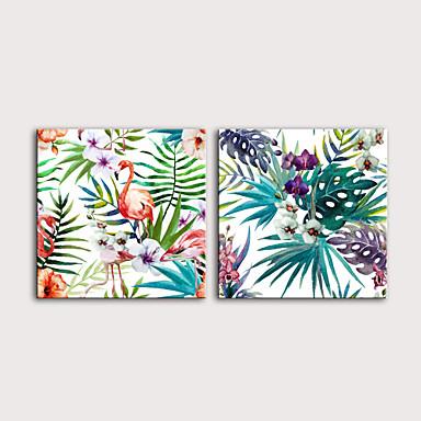 billige Trykk-Trykk Valset lerretskunst Strukket Lerret Trykk - Fugler Blomstret / Botanisk Moderne Kunsttrykk