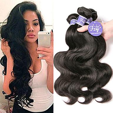 baratos Extensões de Cabelo Natural-3 pacotes Cabelo Brasileiro Onda de Corpo 100% Remy Hair Weave Bundles Cabelo Humano Ondulado Extensor Cabelo Bundle 8-28 polegada Côr Natural Tramas de cabelo humano Sem Cheiros Design Moderno Venda