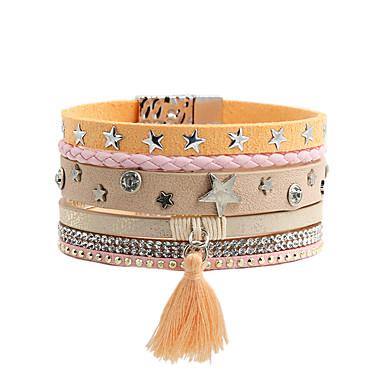 voordelige Dames Sieraden-Dames Lederen armbanden Armband Armband met hanger Chunky Ster Eenvoudig Standaard Europees modieus Casual / Sporty Leder Armband sieraden Roze Voor Lahja Dagelijks School Straat Feestdagen