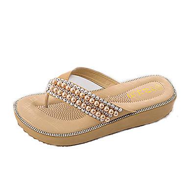 voordelige Damespantoffels & slippers-Dames PU Zomer Zoet Slippers & Flip-Flops Sleehak Open teen Parel Blauw / Roze / Amandel
