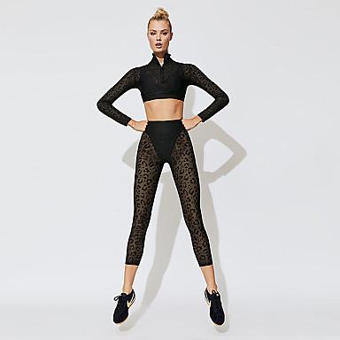 849d33be3d Mulheres Transparente Moletom Terno de Yoga Esportes Côr Sólida Cintura  Alta Conjuntos Ioga Fitness Manga Longa