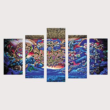 abordables Toiles-Imprimé Impressions sur toile roulées Impression sur Toile - Fantaisie Vacances Rétro Vintage Moderne Cinq Panneaux Art Prints