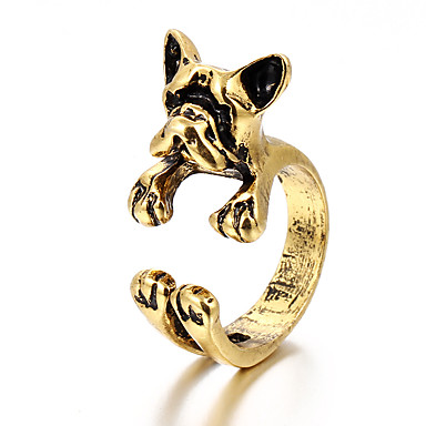 voordelige Herensieraden-Heren Open Ring 1pc Goud Zwart Zilver Legering modieus Modieus Dagelijks Straat Sieraden Honden Cool