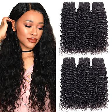 baratos Extensões de Cabelo Natural-6 pacotes Cabelo Malaio Onda de Água Cabelo Natural Remy 100% Remy Hair Weave Bundles Peça para Cabeça Cabelo Humano Ondulado Cabelo Bundle 8-28 polegada Côr Natural Tramas de cabelo humano Sem