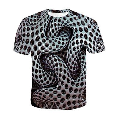 povoljno Holidays-Majica s rukavima Muškarci - Vojni / pretjeran Ležerno / za svaki dan / Plus veličine Na točkice / 3D Okrugli izrez Print Sive boje XXXXL / Kratkih rukava