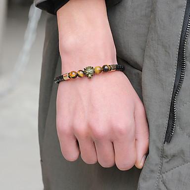 voordelige Herensieraden-Heren Dames Vintage Armbanden Lederen armbanden Armband Retro kathedraal Wolvenkop Wolf Eenvoudig Vintage modieus Modieus Leder Armband sieraden Goud / Zwart / Zilver Voor Lahja Dagelijks Straat