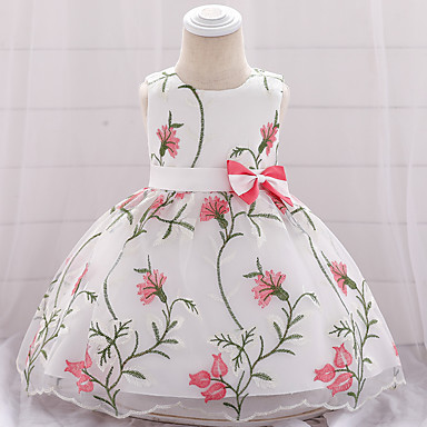 28065bfd449b0 Baby Girls  Active   Basic Solid Colored   Floral Bow   Embroidered  Sleeveless Knee-length Cotton   Polyester Dress Red